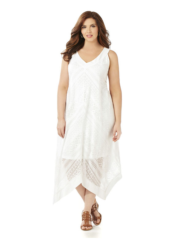 Catherines Plus Size AnyWear Burnout Dress Womens Size XL White $75.99 AT vintagedancer.com