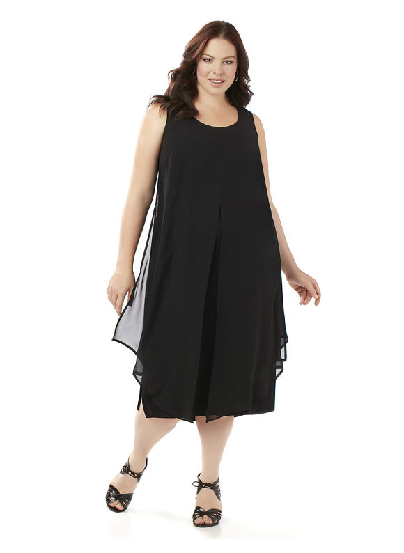 Black Label by Catherines Plus Size Black Label Chiffon Overlay Dress Womens Size 3XL $99.00 AT vintagedancer.com