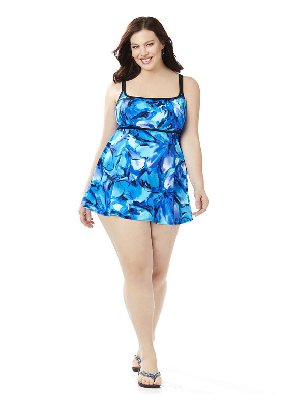 Longitude Plus Size Forget Me Not Swimdres Women' Size: 20W,  Modern Blue plus size,  plus size fashion plus size appare