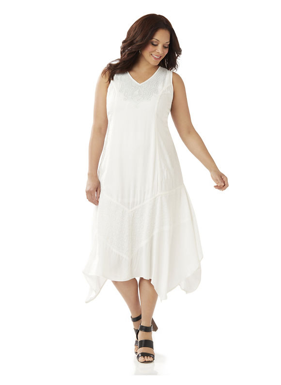 Catherines Plus Size Romantic Notions Dress Womens Size XL White $119.00 AT vintagedancer.com