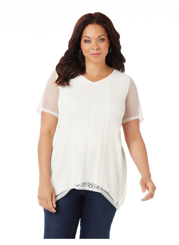 Image of Catherines Plus Size Exotic Whisper Top, Women's, Size: 4XL, Coconut Milk