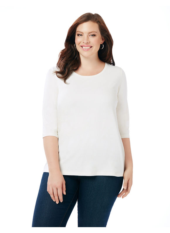 Image of By Suprema Essentials by Catherines Plus Size Suprema Scoopneck Tee, Women's, Size: 2XL, Coconut Milk