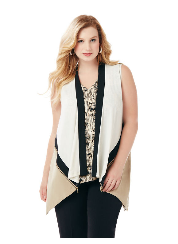 Catherines Plus Size Modern Edge Vest, Women's, Size: 3XL, Desert Khaki
