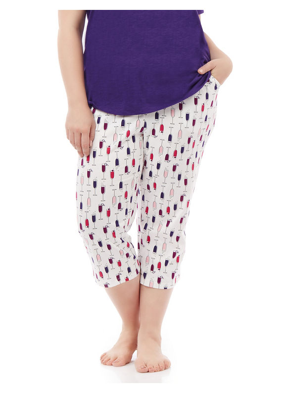 Image of By Catherines Intimates Plus Size Let's Do Brunch Knit Sleep Capri, Women's, Size: 3XL, Coconut Milk