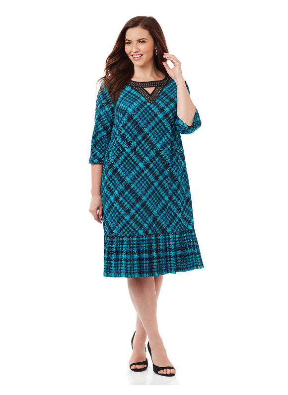 By Catherines Plus Size Downtown Plaid Dress, Women's, Size: 1XL, Green