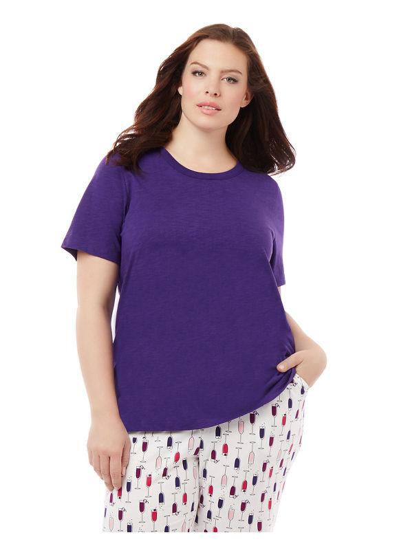 By Catherines Intimates Plus Size Let's Do Brunch Keyhole Back Sleep Tee,  Women' Size: 2  Celestial Purple plus size,  plus size fashion plus size appare