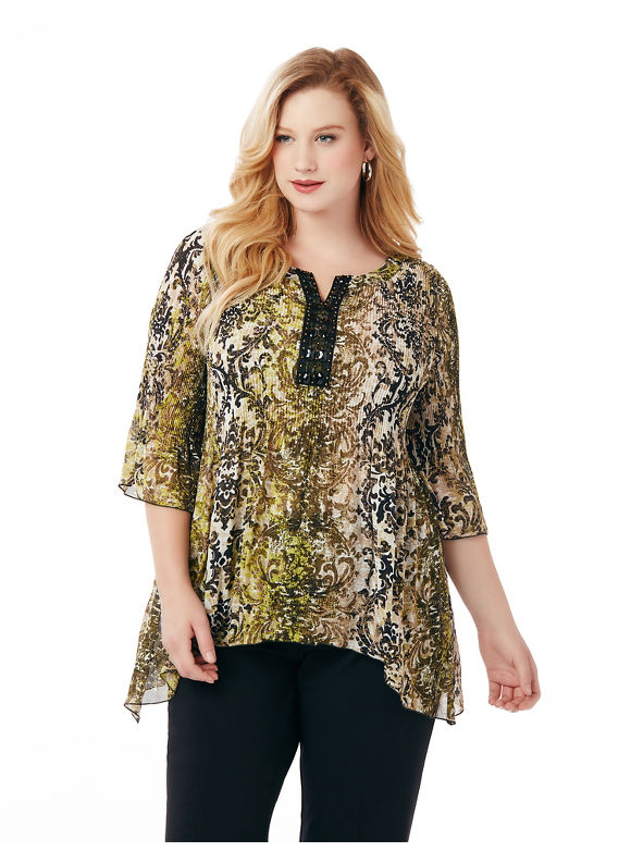 Catherines Plus Size Dramatic Flair Blouse,  Women' Size: 4  Green plus size,  plus size fashion plus size appare