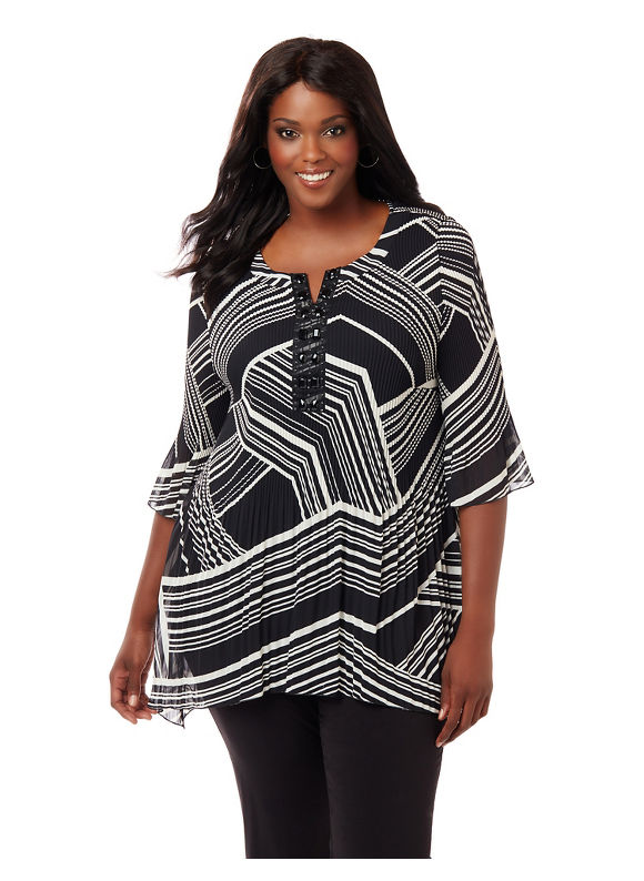 Catherines Plus Size Dramatic Flair Blouse,  Women' Size: 1  Black plus size,  plus size fashion plus size appare
