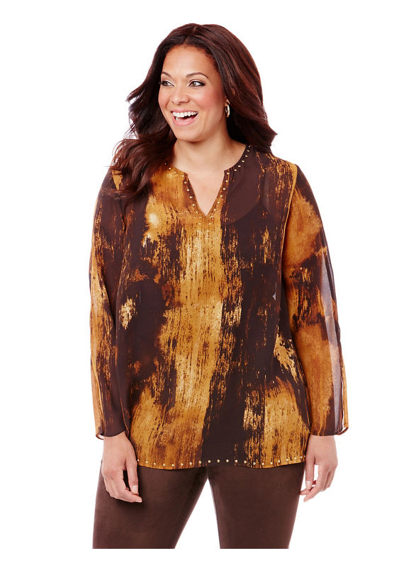 By Black Label by Catherines Plus Size Black Label Gallery Blouse,  Women' Size: 0X,  Chocolate Ganache plus size,  plus size fashion plus size appare