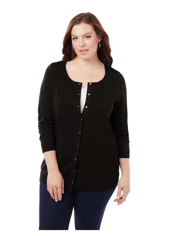 Catherines Plus Size Snap-Front Cardigan, Women's, Size: 1XL, Black