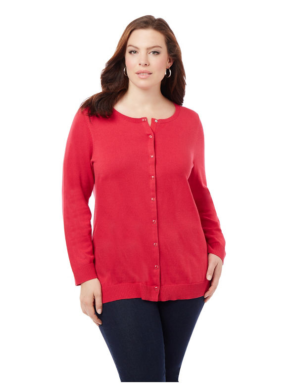 Catherines Plus Size Snap-Front Cardigan, Women's, Size: 2XL, Elderflower