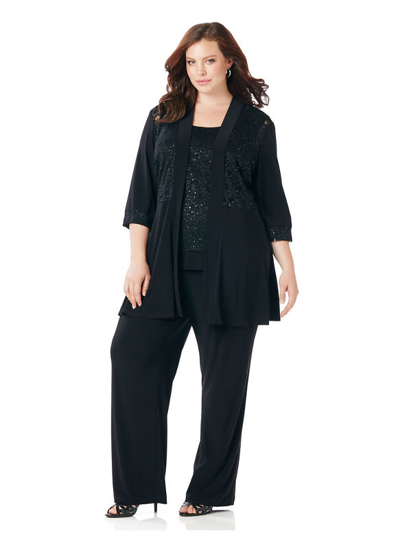 Catherines Plus Size Sparkling Lace Pantsuit Womens Size 26W Black $159.00 AT vintagedancer.com