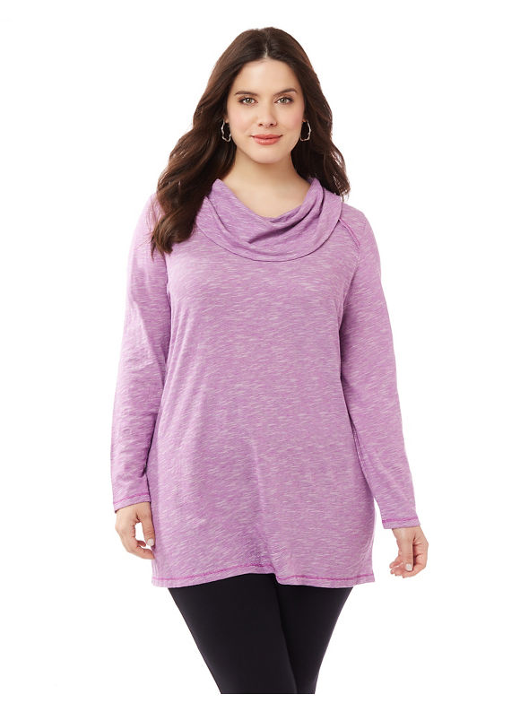 Image of By Catherines Plus Size Namaste Cowlneck, Women's, Size: 3XL, Pink