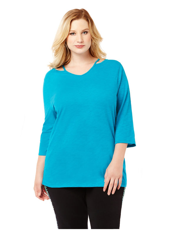 By Catherines Plus Size Cutout 3/4-Sleeve Active Tee, Women's, Size: 5XL, Absolute Blue