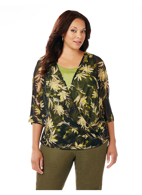 Catherines Plus Size Botanical Garden Blouse,  Women' Size: 3  Green plus size,  plus size fashion plus size appare