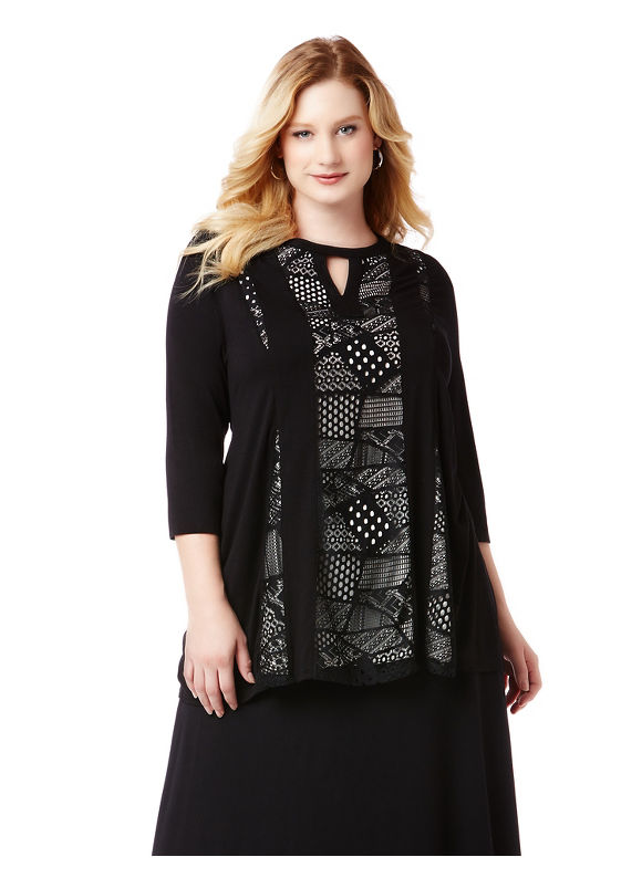 By AnyWear by Catherines Plus Size AnyWear Patchwork Panel Tunic,  Women' Size: 4  Black plus size,  plus size fashion plus size appare