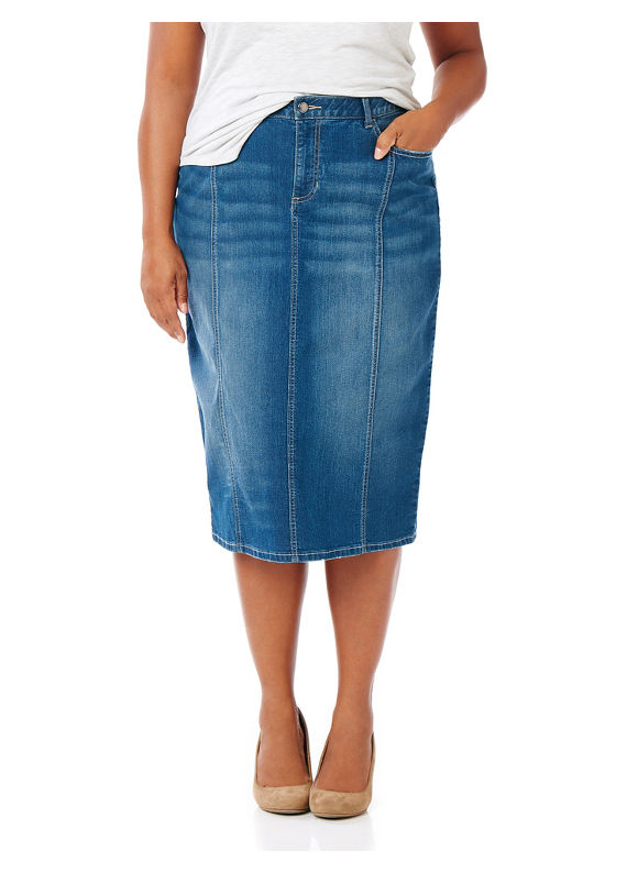 Catherines Plus Size Chatham Square Denim Skirt,  Women' Size: 0X,  Pompeii Wash plus size,  plus size fashion plus size appare
