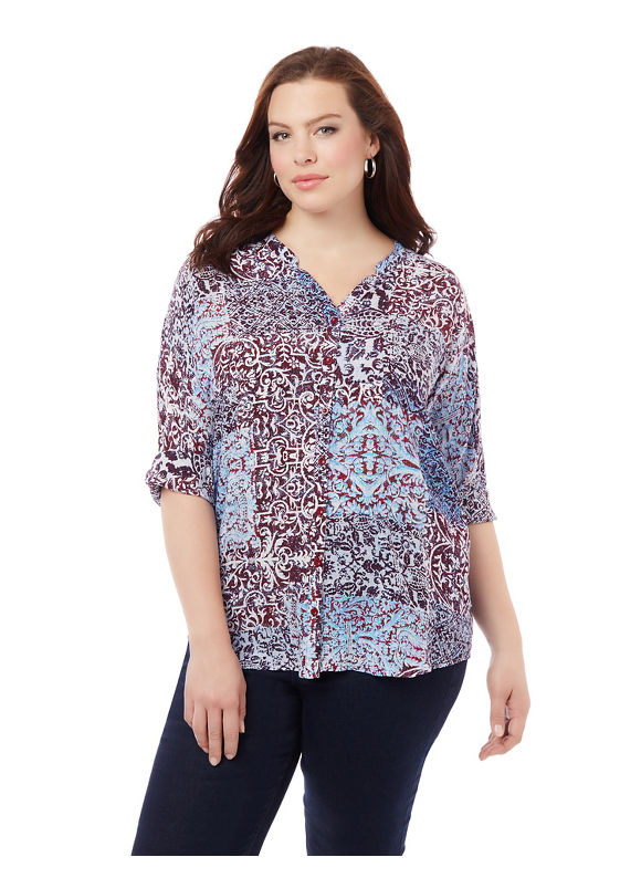 By Catherines Plus Size Weekend Favorite Blouse,  Women' Size: 5  Blue plus size,  plus size fashion plus size appare