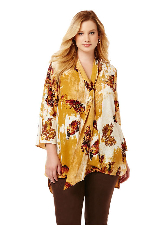 By Black Label by Catherines Plus Size Black Label Pressed Leaves Blouse,  Women' Size: 5  Coconut Milk plus size,  plus size fashion plus size appare