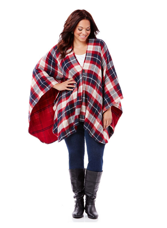 By Catherines Plus Size Reversible Plaid Wrap, Women's, Mariner Navy