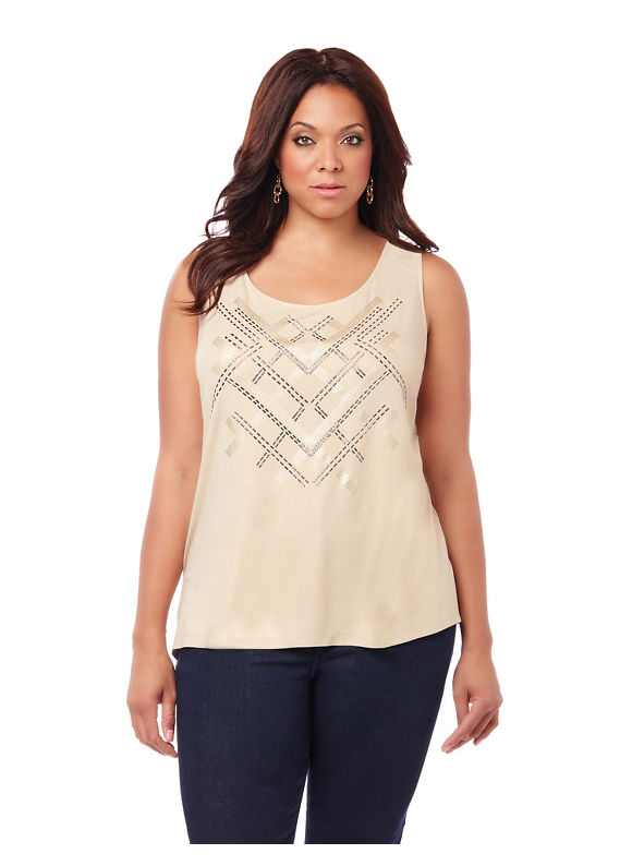 By Black Label by Catherines Plus Size Black Label City Lights Embellished Tank Womens Size 1XL Toffee $43.00 AT vintagedancer.com