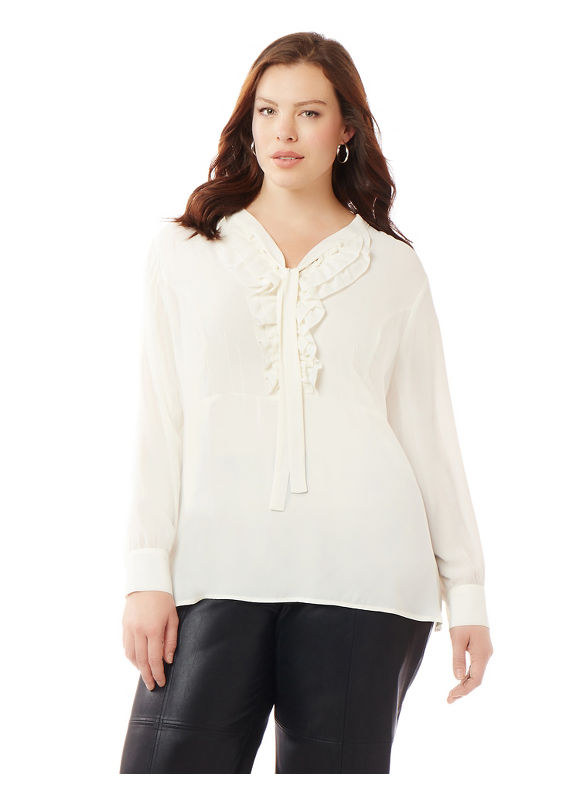 Black Label by Catherines Plus Size Black Label Victorian Blouse,  Women' Size: 0X,  Coconut Milk plus size,  plus size fashion plus size appare