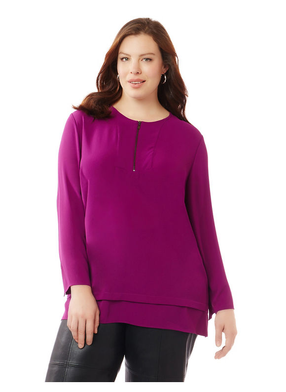 Black Label by Catherines Plus Size Black Label Vineyard Blouse,  Women' Size: 5  Peony Petal plus size,  plus size fashion plus size appare