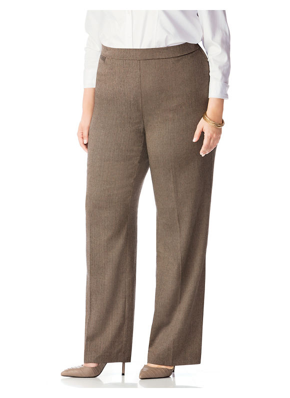 Catherines Plus Size Refined Trouser Pant,  Women' Size: 0XWP,  Brown plus size,  plus size fashion plus size appare