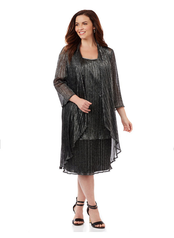 1920sStyleDresses By Catherines Plus Size Soft Waves Jacket Dress Womens Size 20W Black $169.00 AT vintagedancer.com