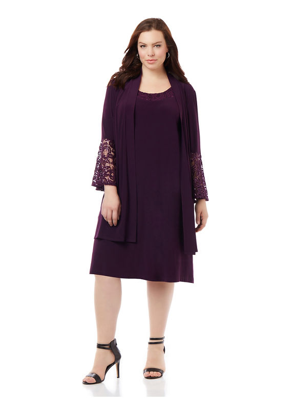 By Catherines Plus Size Lace Mystique Jacket Dress, Women's, Size: 20W, Vintage Plum