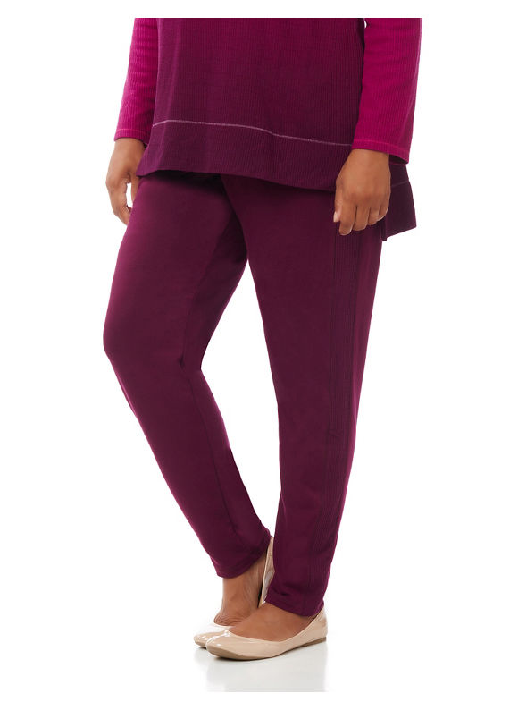 Catherines Plus Size Slim Leg Sweatpant, Women's, Size: 2XL, Vintage Plum