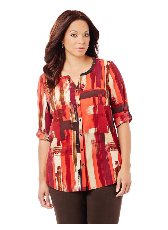 Catherines Plus Size Artist's Brush Blouse,  Women' Size: 4  Red plus size,  plus size fashion plus size appare