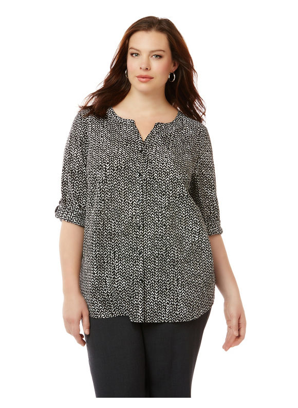 Catherines Plus Size Artist's Brush Blouse,  Women' Size: 3XWP,  London Sky plus size,  plus size fashion plus size appare
