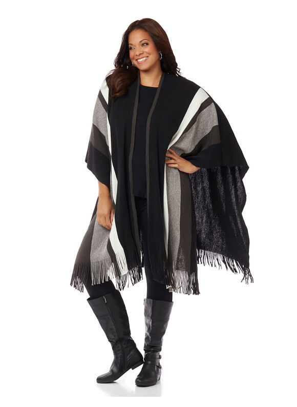 Catherines Plus Size Center Point Wrap, Women's, Black