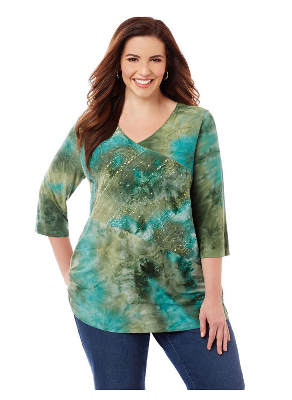 Catherines Plus Size Swirling Waters Top, Women's, Size: 5XL, Green plus size, plus size tops, plus size shirts, plus size blouses,