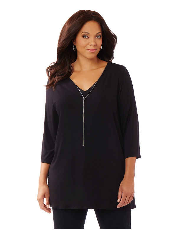 AnyWear by Catherines Plus Size AnyWear Pinnacle Necklace Tunic,  Women' Size: 2  Black plus size,  plus size fashion plus size appare