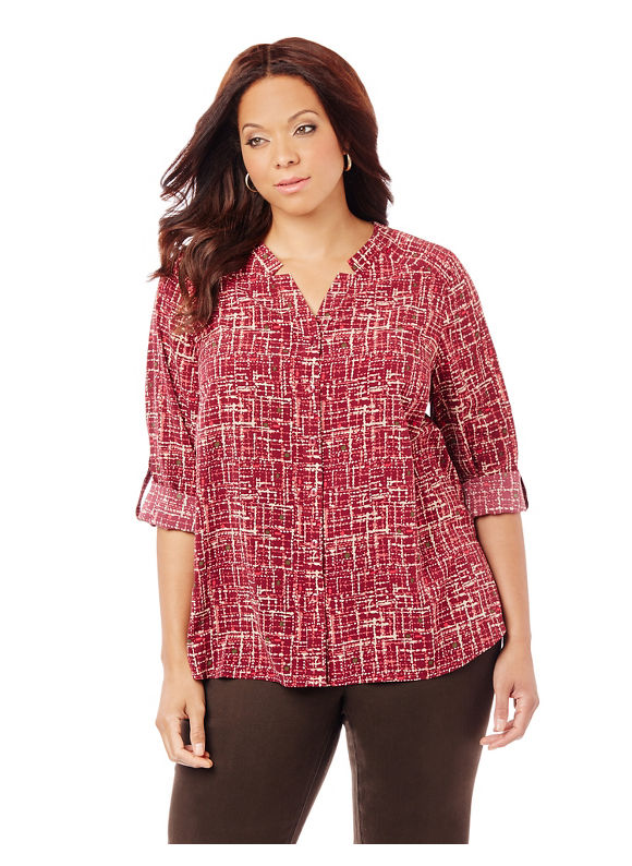 By Catherines Plus Size Sketchbook Blouse,  Women' Size: 4  Spicy Sangria plus size,  plus size fashion plus size appare