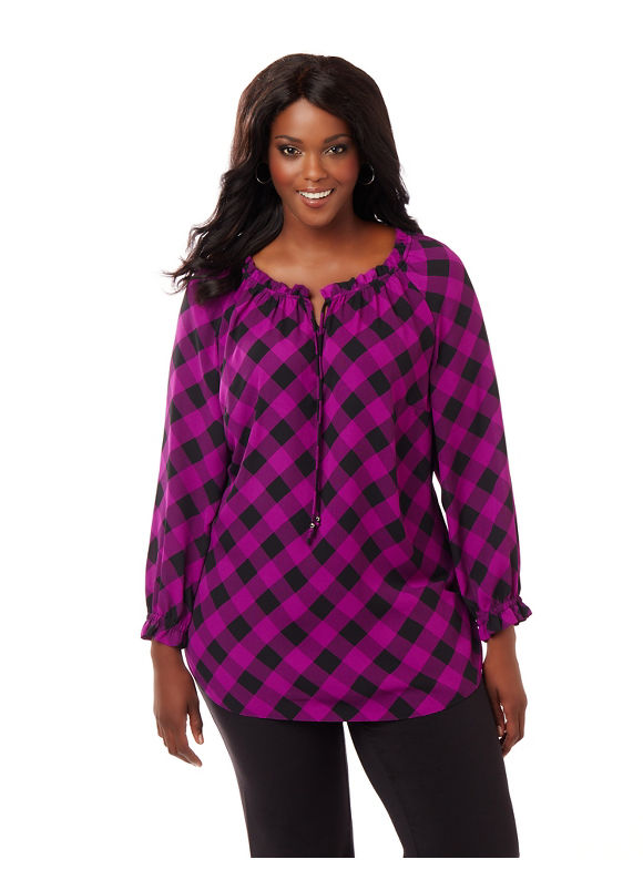 Catherines Plus Size Checkmate Blouse,  Women' Size: 4  Purple plus size,  plus size fashion plus size appare