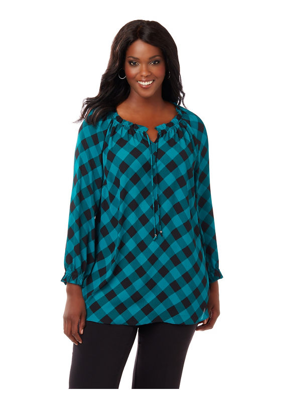 Catherines Plus Size Checkmate Blouse,  Women' Size: 0X,  Blue plus size,  plus size fashion plus size appare