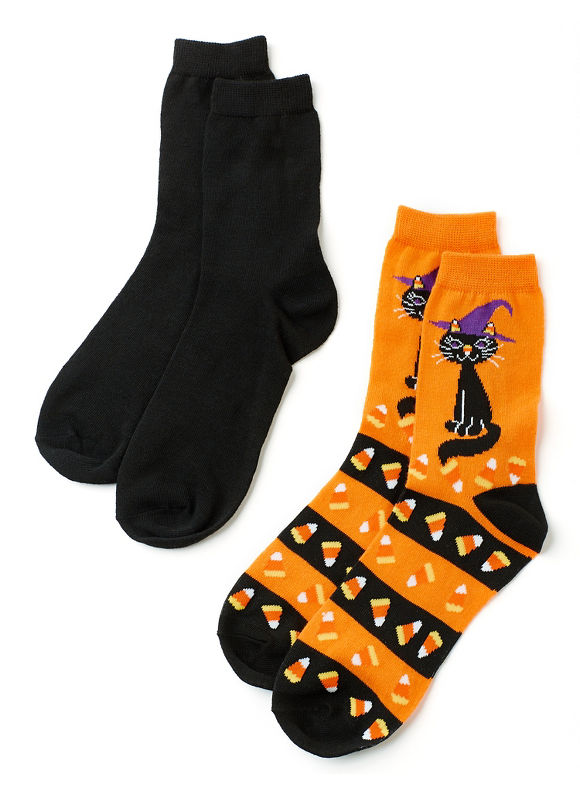1920sStyleDresses By Catherines Plus Size Black Cat 2-Pack Socks Womens Molten Lava $12.00 AT vintagedancer.com