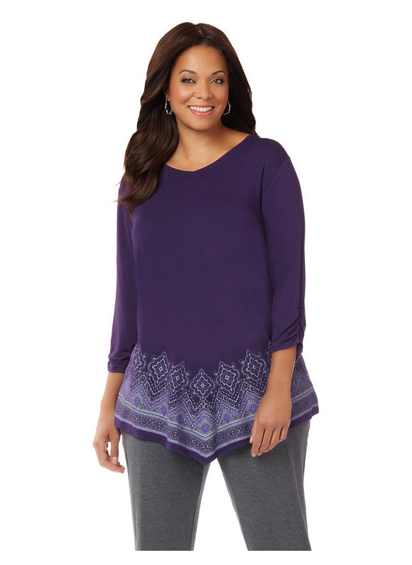 AnyWear by Catherines Plus Size AnyWear Desire Tunic,  Women' Size: 0X,  Purple plus size,  plus size fashion plus size appare