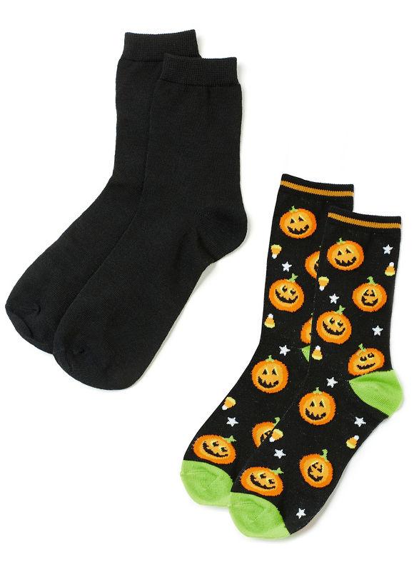 Vintage Retro Halloween Themed Clothing By Catherines Plus Size Pumpkin 2-Pack Socks Womens Black $12.00 AT vintagedancer.com