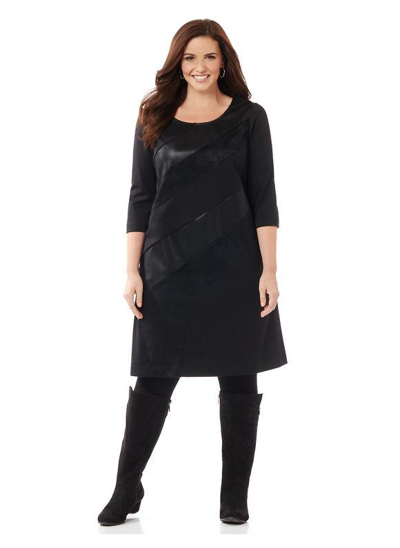Catherines Plus Size Midnight Texture Dress, Women's, Size: 0XWP, Black