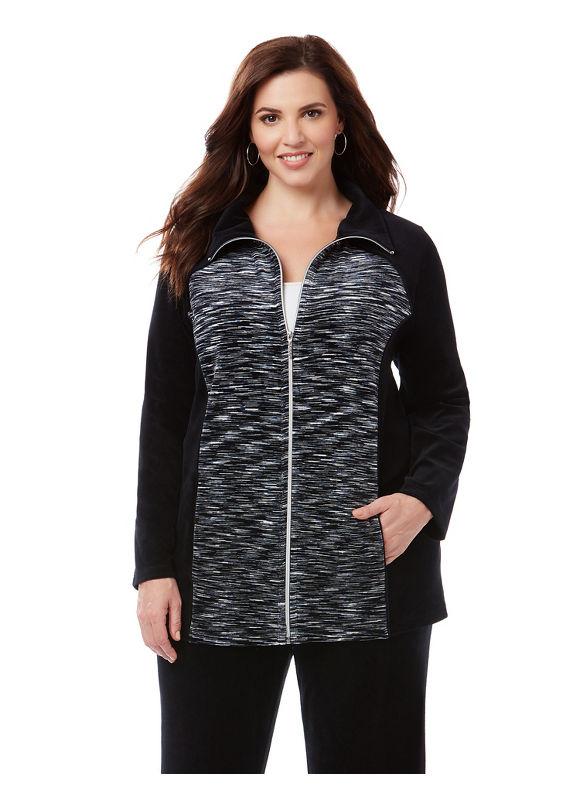 Catherines Plus Size Cozy Velour Jacket, Women's, Size: 2XWP, Black Spacedye