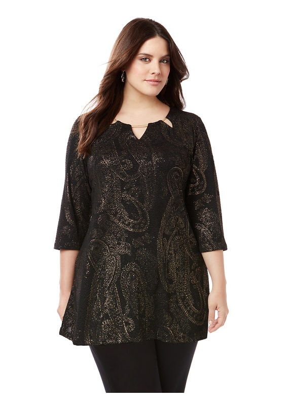 Catherines Plus Size Sleek Stretch Paisley Tunic,  Women' Size: 0X,  Gold plus size,  plus size fashion plus size appare