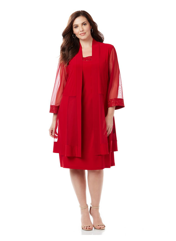 Catherines Plus Size Diamond Details Jacket Dress, Women's, Size: 1XL, Red