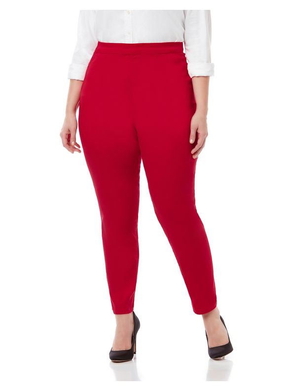 1960s Style Women's Pants Catherines Plus Size Color Refined Twill Pant Curvy Womens Size 3XL Red $42.99 AT vintagedancer.com