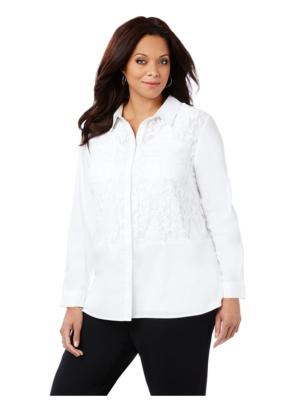 Catherines Plus Size White Lace Buttondown, Women's, Size: 3XL 239579300052270