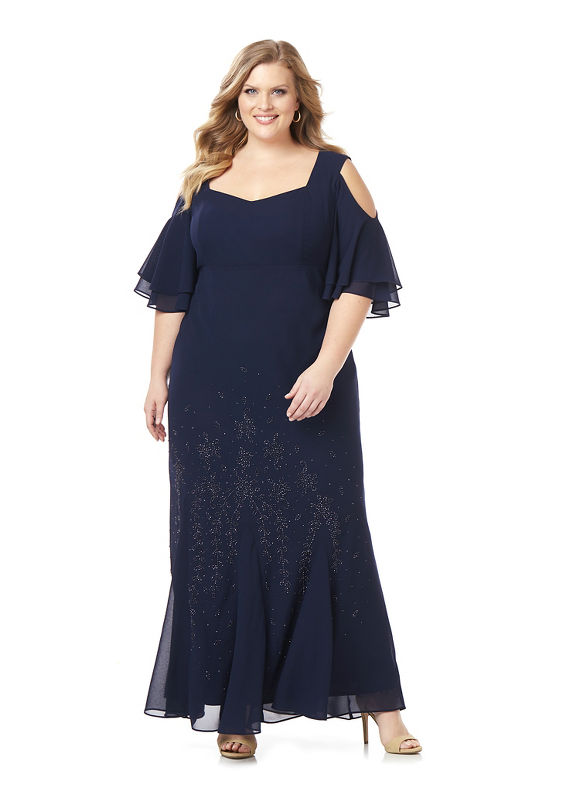 1930s Plus Size Dresses Catherines Plus Size Midnight Dream Gown Womens Size 30W Mariner Navy $194.00 AT vintagedancer.com