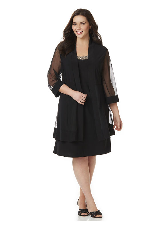 Buy Boardwalk Empire Inspired Dresses Catherines Plus Size Elegant Evening Jacket Dress Womens Size 24W Black $149.00 AT vintagedancer.com
